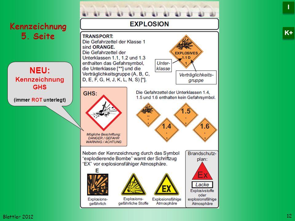 Blattler 2012 NEU: Kennzeichnung GHS (immer ROT unterlegt) 12 Kennzeichnung 5. Seite I I K+