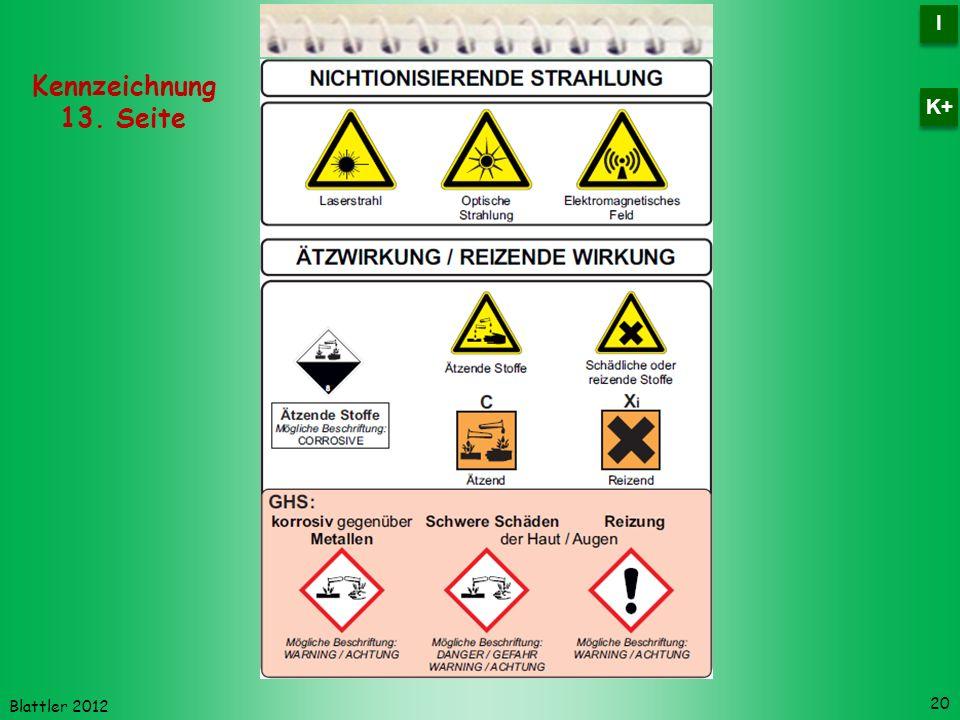 Blattler 2012 20 Kennzeichnung 13. Seite I I K+