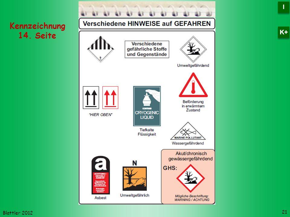 Blattler 2012 21 Kennzeichnung 14. Seite I I K+
