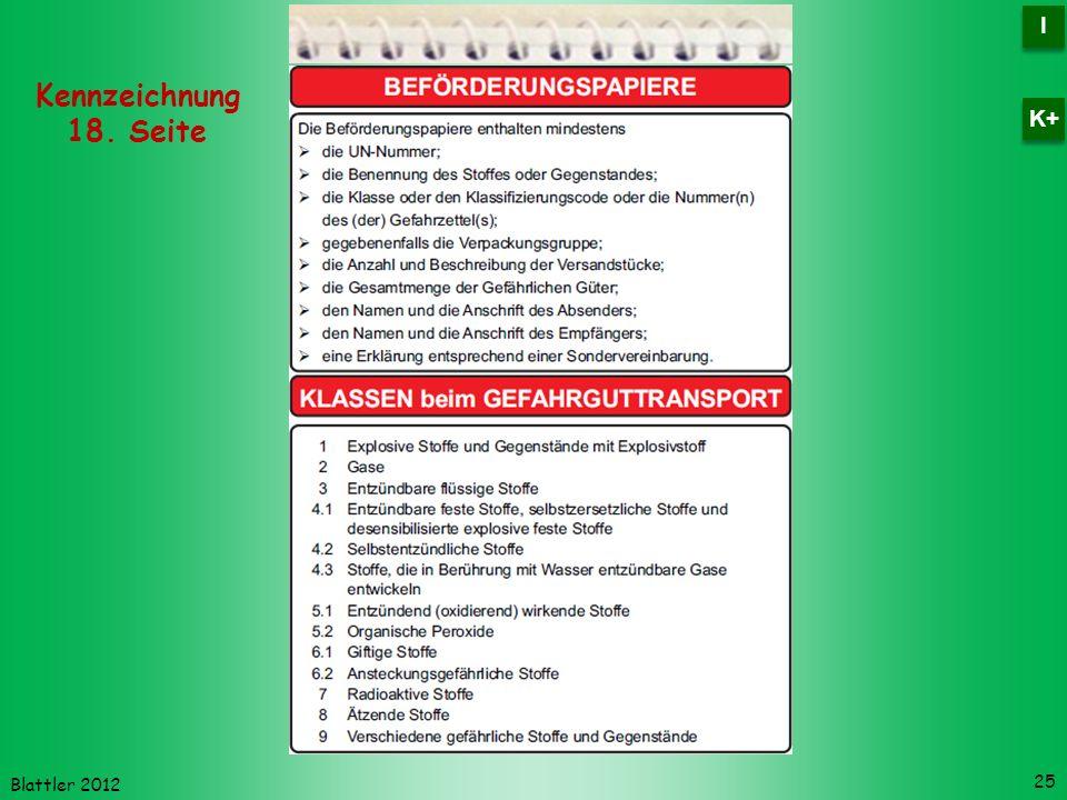 Blattler 2012 25 Kennzeichnung 18. Seite I I K+