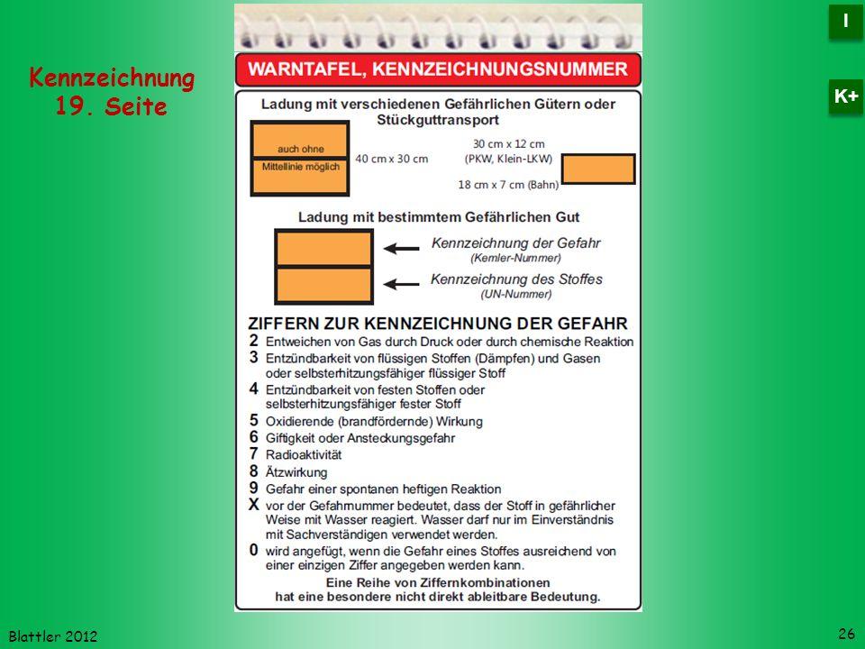 Blattler 2012 26 Kennzeichnung 19. Seite I I K+