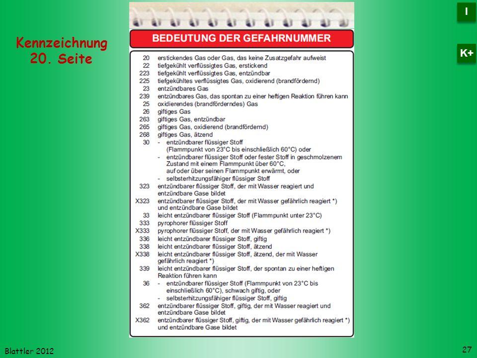 Blattler 2012 27 Kennzeichnung 20. Seite I I K+