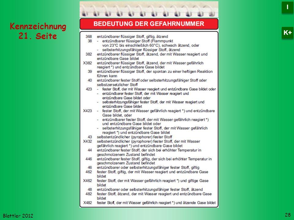 Blattler 2012 28 Kennzeichnung 21. Seite I I K+