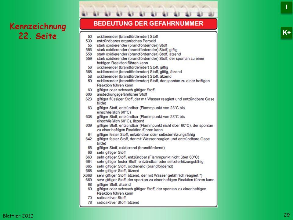 Blattler 2012 29 Kennzeichnung 22. Seite I I K+