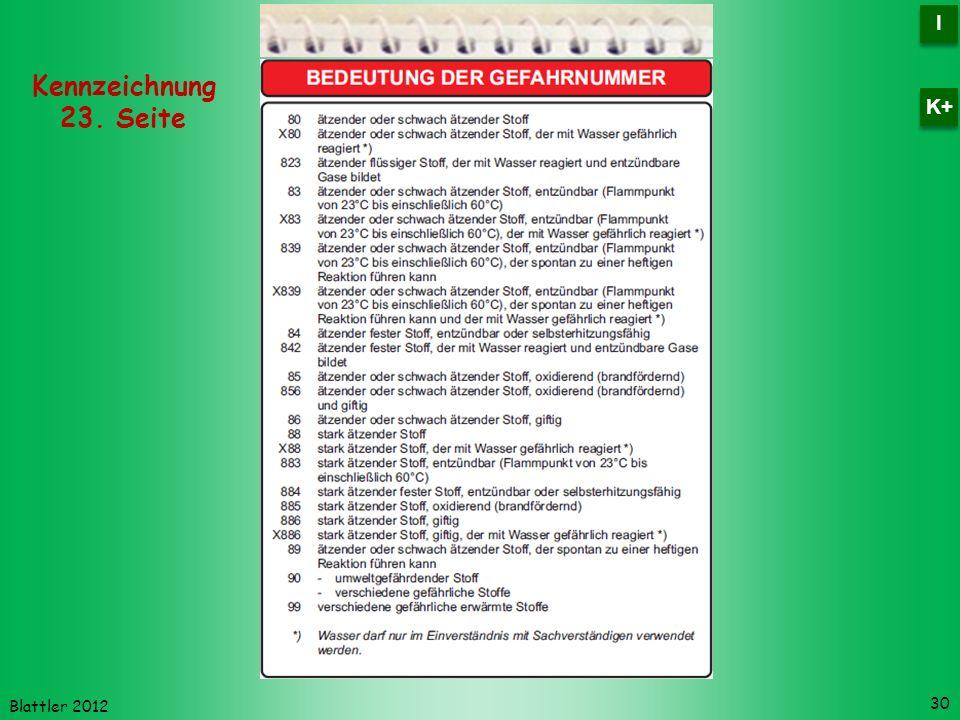 Blattler 2012 30 Kennzeichnung 23. Seite I I K+