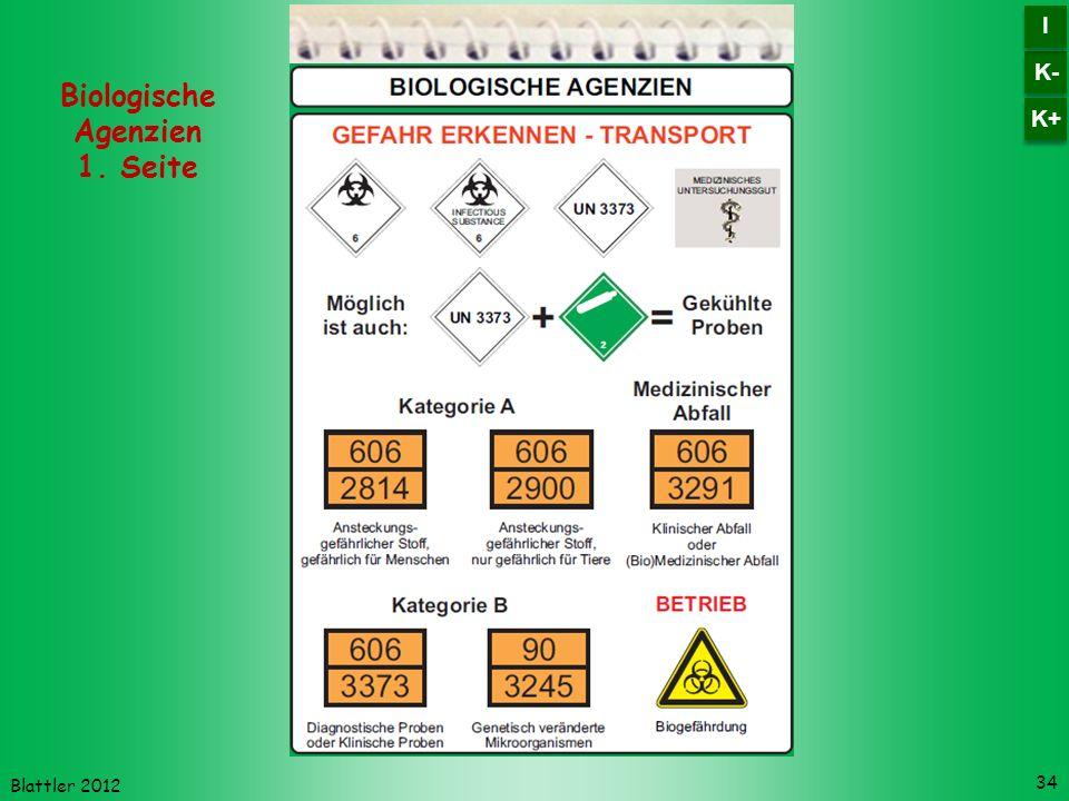 Blattler 2012 34 Biologische Agenzien 1. Seite K- I I K+