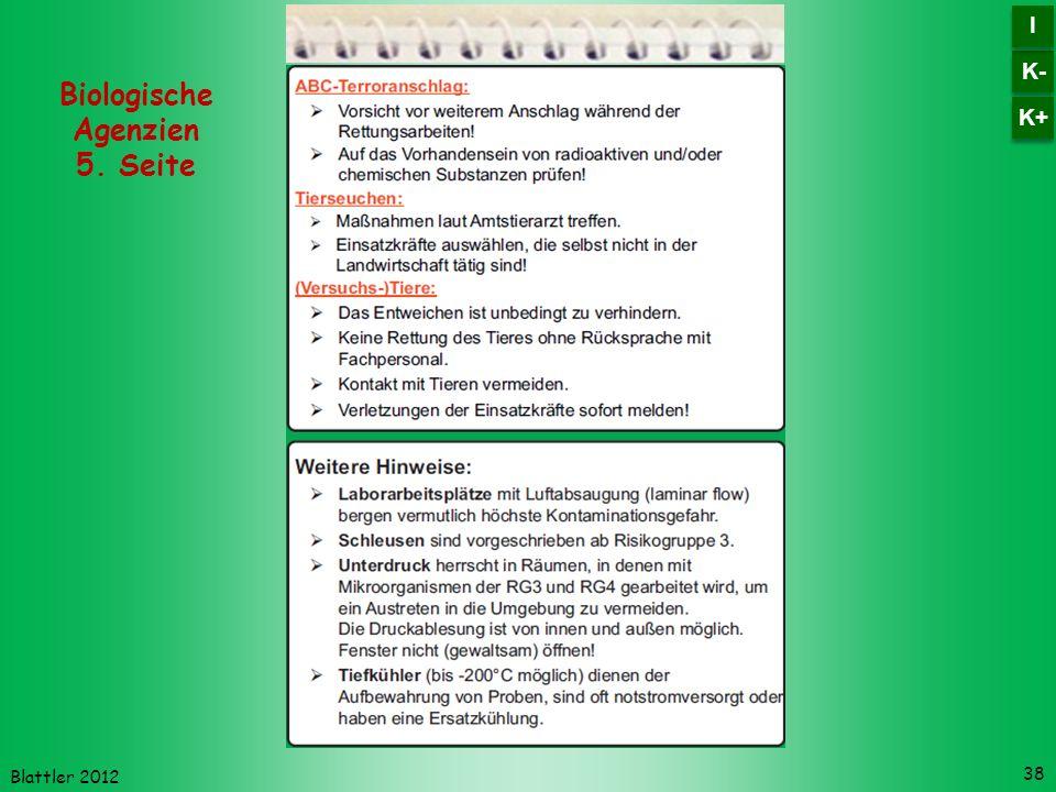 Blattler 2012 38 Biologische Agenzien 5. Seite K- I I K+