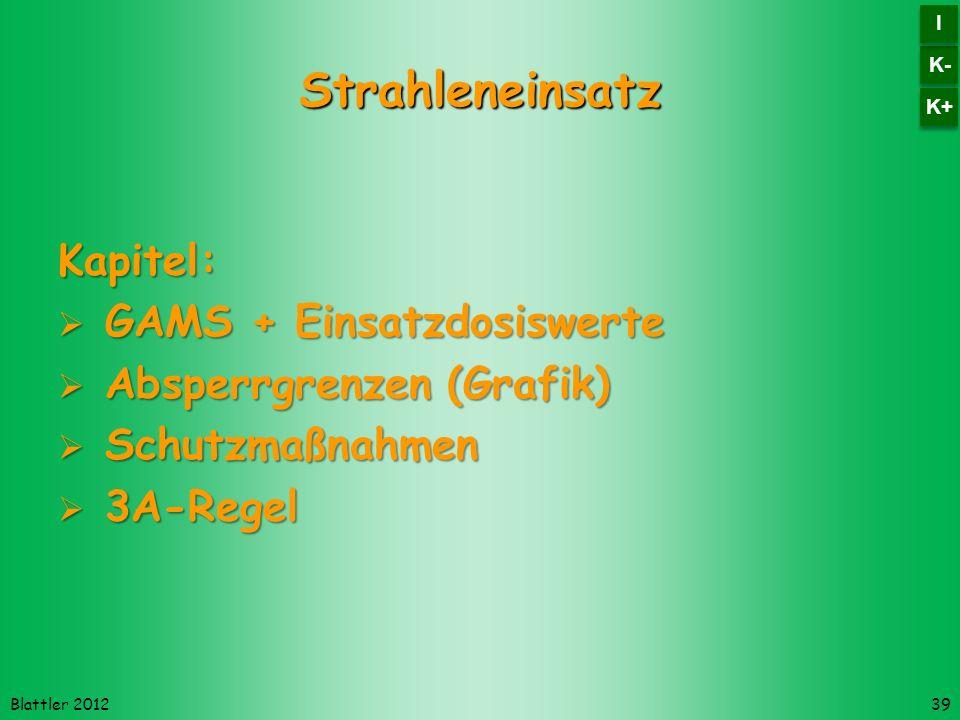 Blattler 2012 Strahleneinsatz Kapitel: GAMS + Einsatzdosiswerte GAMS + Einsatzdosiswerte Absperrgrenzen (Grafik) Absperrgrenzen (Grafik) Schutzmaßnahmen Schutzmaßnahmen 3A-Regel 3A-Regel 39 K- I I K+