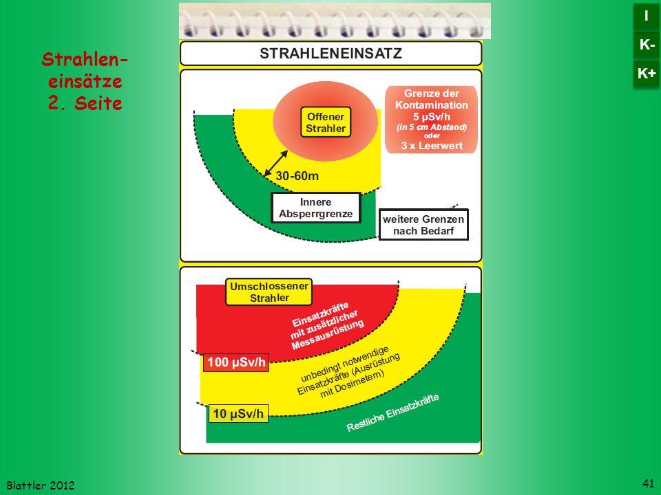 Blattler 2012 41 Strahlen- einsätze 2. Seite K- I I K+