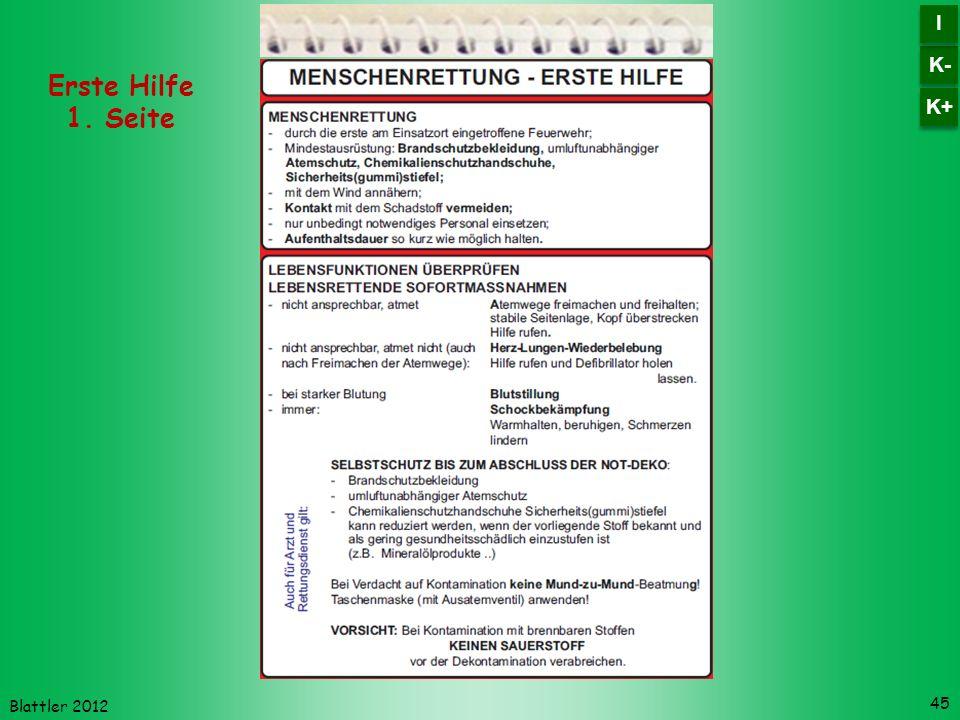 Blattler 2012 45 Erste Hilfe 1. Seite K- I I K+