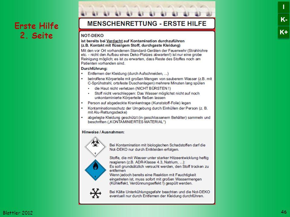 Blattler 2012 46 Erste Hilfe 2. Seite K- I I K+
