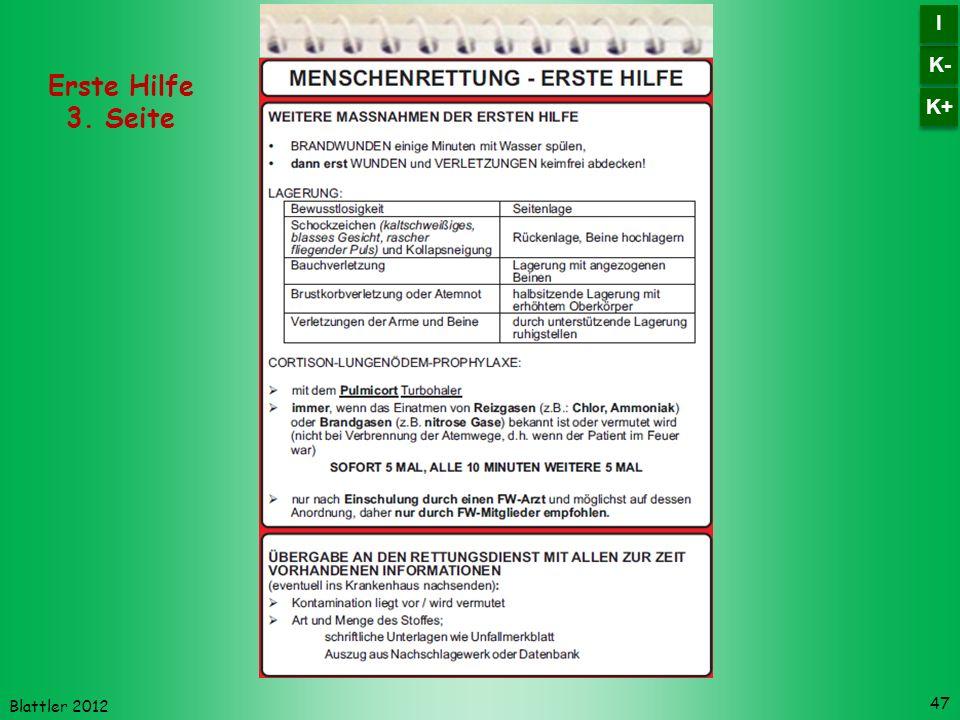 Blattler 2012 47 Erste Hilfe 3. Seite K- I I K+