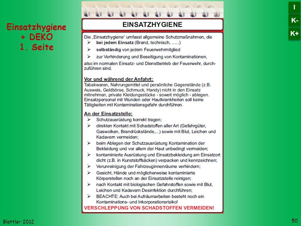 Blattler 2012 50 Einsatzhygiene + DEKO 1. Seite K- I I K+