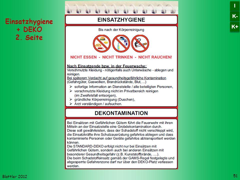 Blattler 2012 51 Einsatzhygiene + DEKO 2. Seite K- I I K+