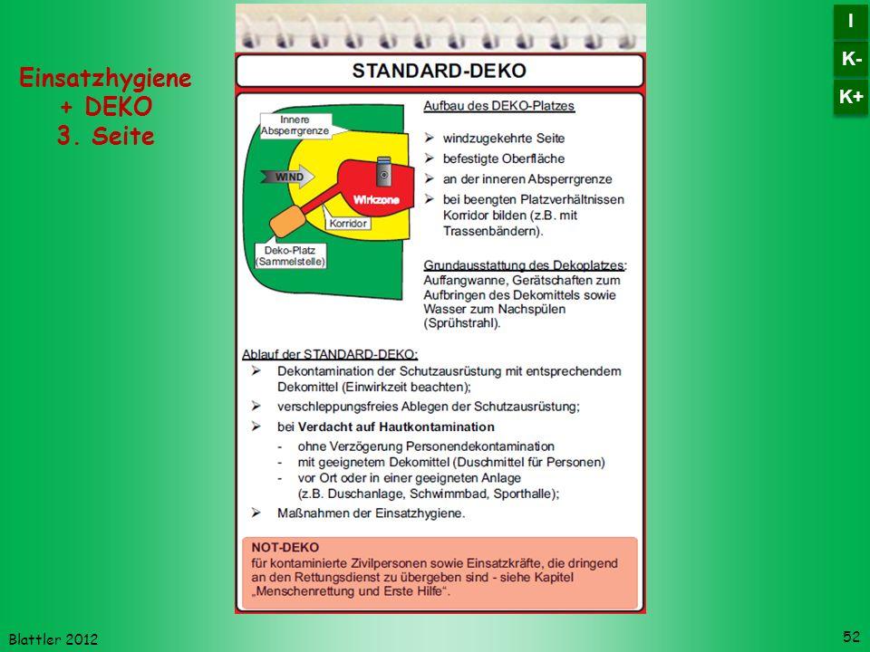 Blattler 2012 52 Einsatzhygiene + DEKO 3. Seite K- I I K+