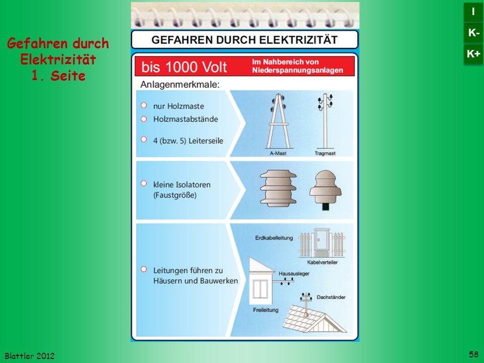Blattler 2012 58 Gefahren durch Elektrizität 1. Seite K- I I K+