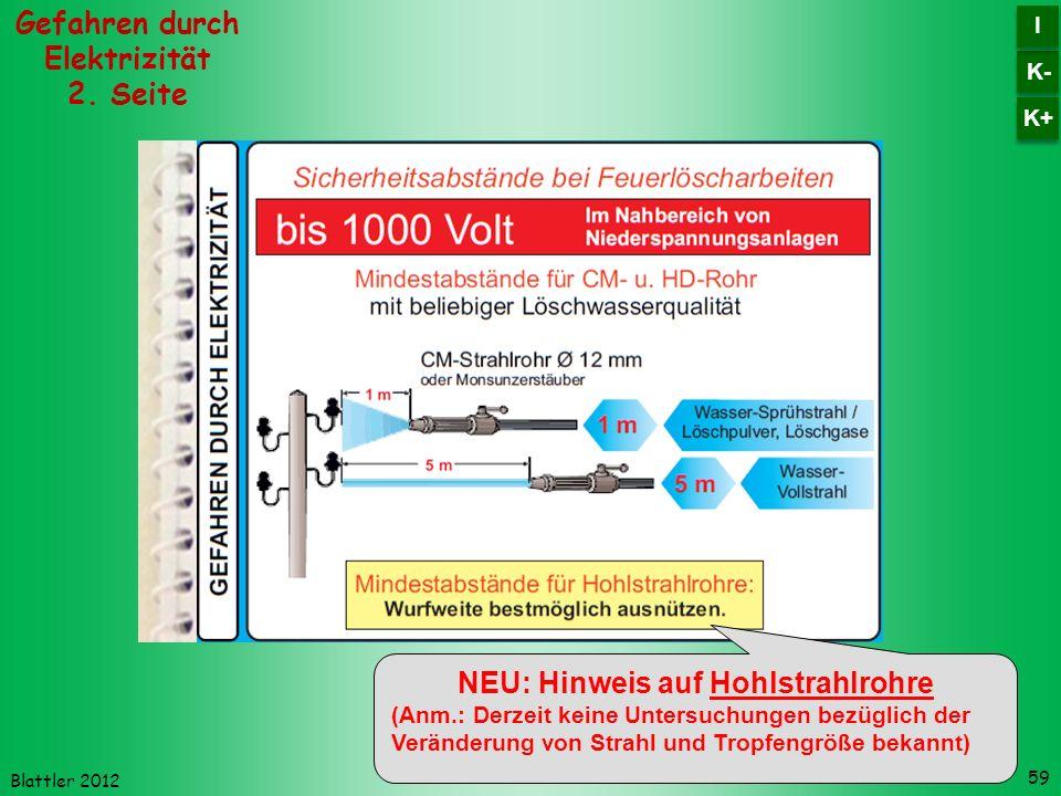 Blattler 2012 59 Gefahren durch Elektrizität 2. Seite K- I I K+ NEU: Hinweis auf Hohlstrahlrohre (Anm.: Derzeit keine Untersuchungen bezüglich der Ver