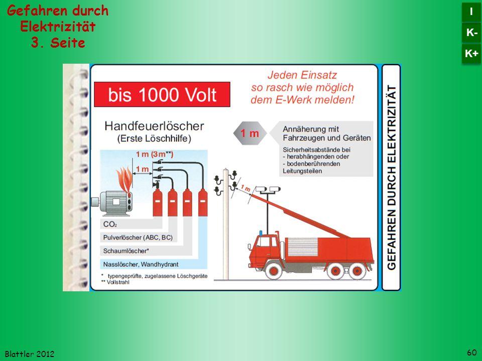 Blattler 2012 60 Gefahren durch Elektrizität 3. Seite K- I I K+