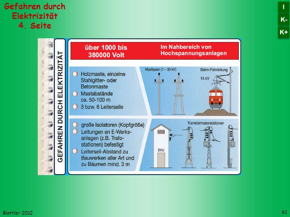Blattler 2012 61 Gefahren durch Elektrizität 4. Seite K- I I K+