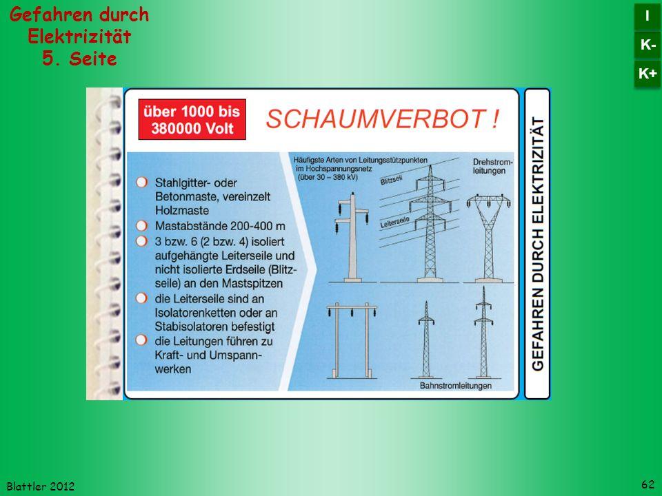 Blattler 2012 62 Gefahren durch Elektrizität 5. Seite K- I I K+