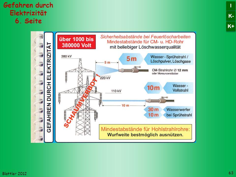 Blattler 2012 63 Gefahren durch Elektrizität 6. Seite K- I I K+