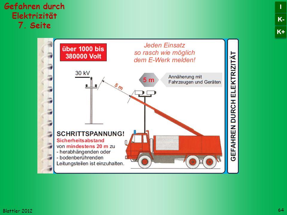 Blattler 2012 64 Gefahren durch Elektrizität 7. Seite K- I I K+