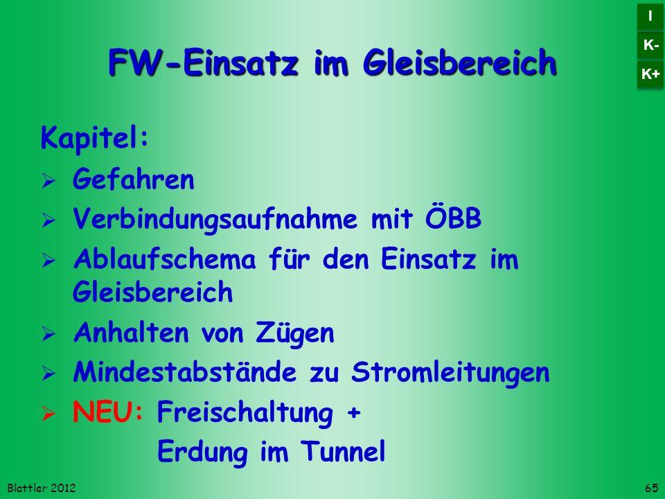 Blattler 2012 FW-Einsatz im Gleisbereich Kapitel: Gefahren Verbindungsaufnahme mit ÖBB Ablaufschema für den Einsatz im Gleisbereich Anhalten von Zügen Mindestabstände zu Stromleitungen NEU:Freischaltung + Erdung im Tunnel 65 K- I I K+