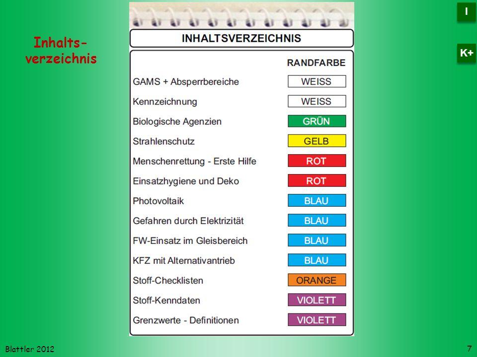 Blattler 2012 Inhalts- verzeichnis 7 I I K+