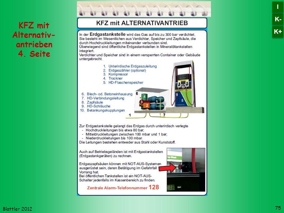 Blattler 2012 75 KFZ mit Alternativ- antrieben 4. Seite K- I I K+