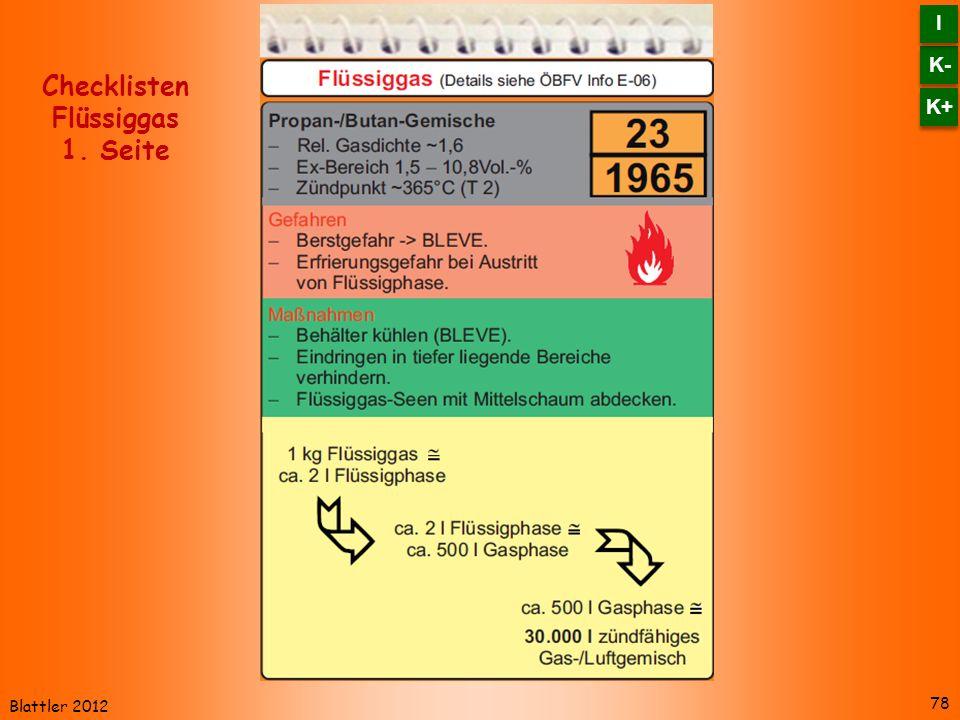 Blattler 2012 78 Checklisten Flüssiggas 1. Seite K- I I K+