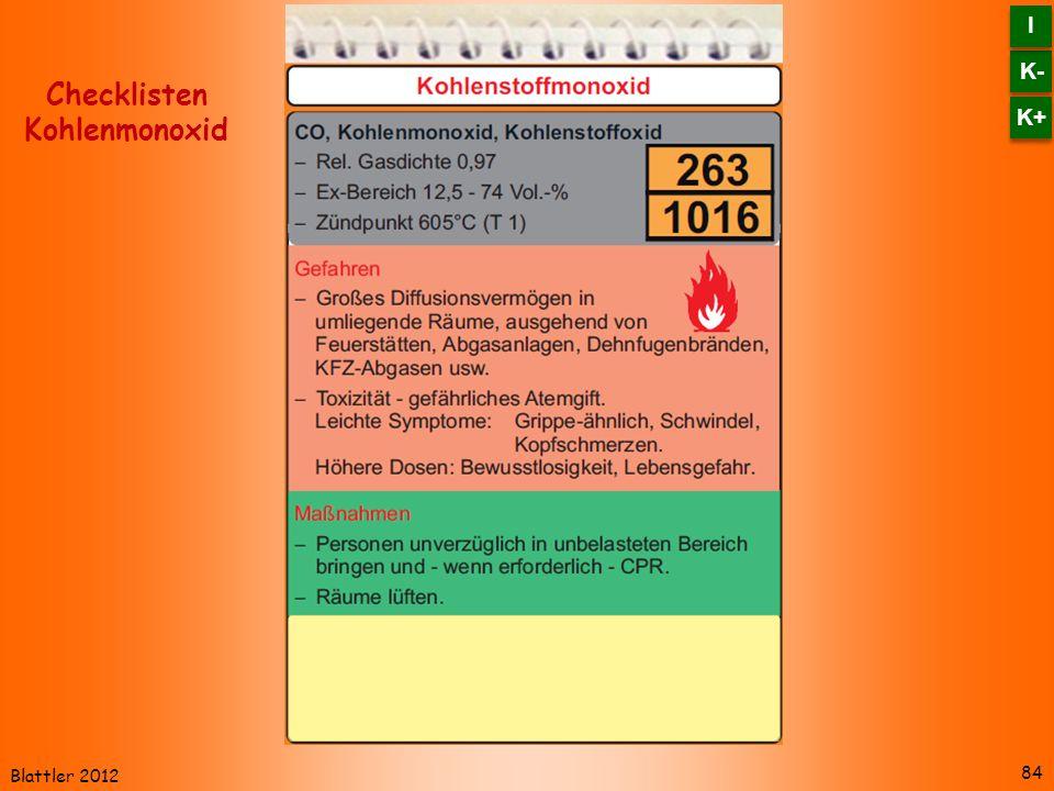 Blattler 2012 84 Checklisten Kohlenmonoxid K- I I K+
