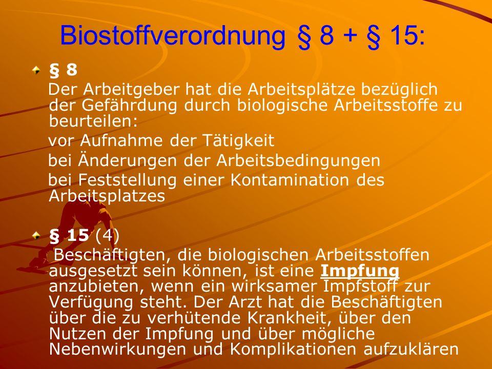 Biostoffverordnung § 8 + § 15: § 8 Der Arbeitgeber hat die Arbeitsplätze bezüglich der Gefährdung durch biologische Arbeitsstoffe zu beurteilen: vor A
