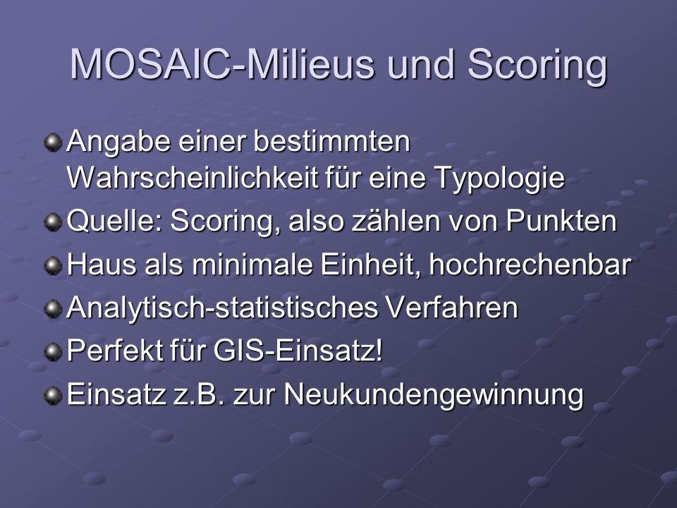 MOSAIC-Milieus und Scoring Angabe einer bestimmten Wahrscheinlichkeit für eine Typologie Quelle: Scoring, also zählen von Punkten Haus als minimale Ei