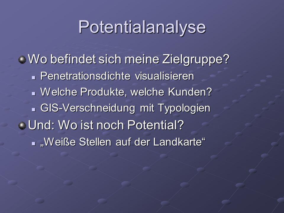 Potentialanalyse Wo befindet sich meine Zielgruppe? Penetrationsdichte visualisieren Penetrationsdichte visualisieren Welche Produkte, welche Kunden?