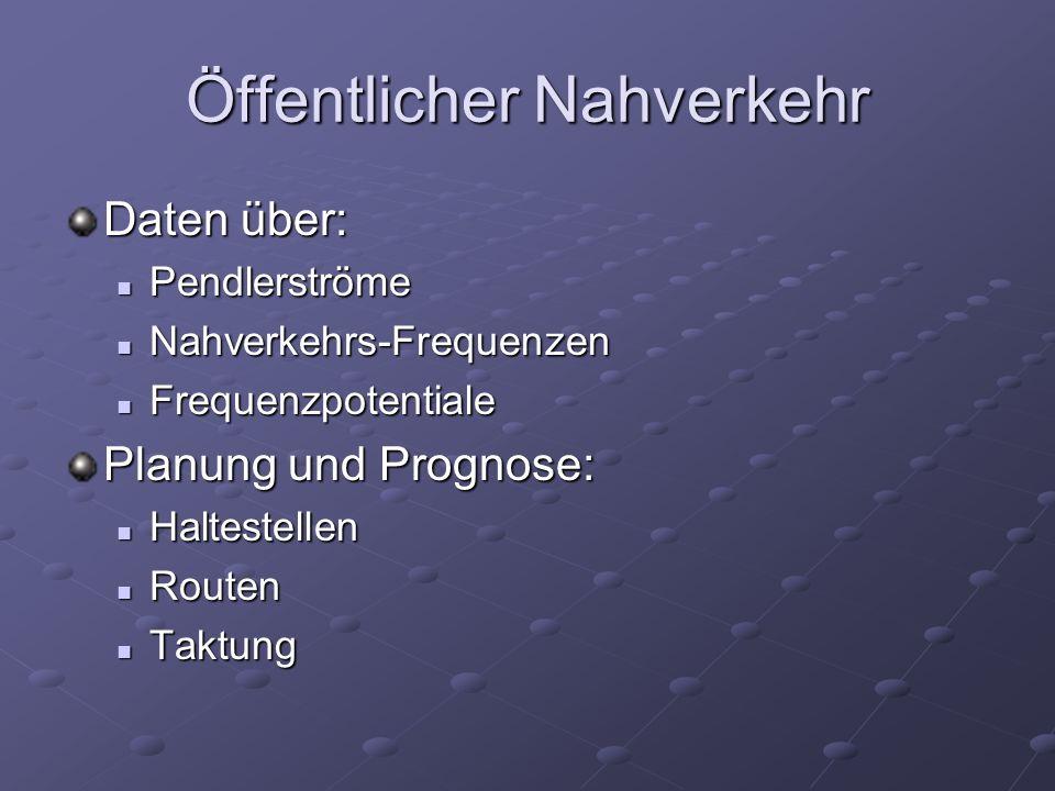 Öffentlicher Nahverkehr Daten über: Pendlerströme Pendlerströme Nahverkehrs-Frequenzen Nahverkehrs-Frequenzen Frequenzpotentiale Frequenzpotentiale Pl