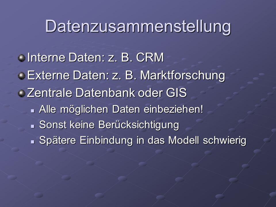 Datenzusammenstellung Interne Daten: z. B. CRM Externe Daten: z. B. Marktforschung Zentrale Datenbank oder GIS Alle möglichen Daten einbeziehen! Alle