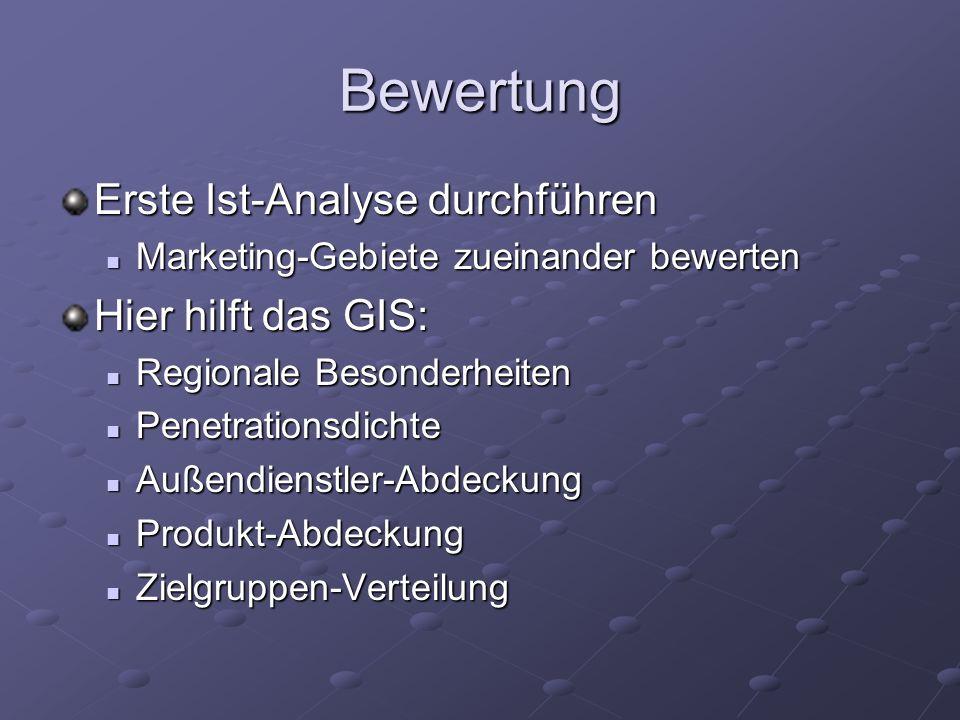 Bewertung Erste Ist-Analyse durchführen Marketing-Gebiete zueinander bewerten Marketing-Gebiete zueinander bewerten Hier hilft das GIS: Regionale Beso
