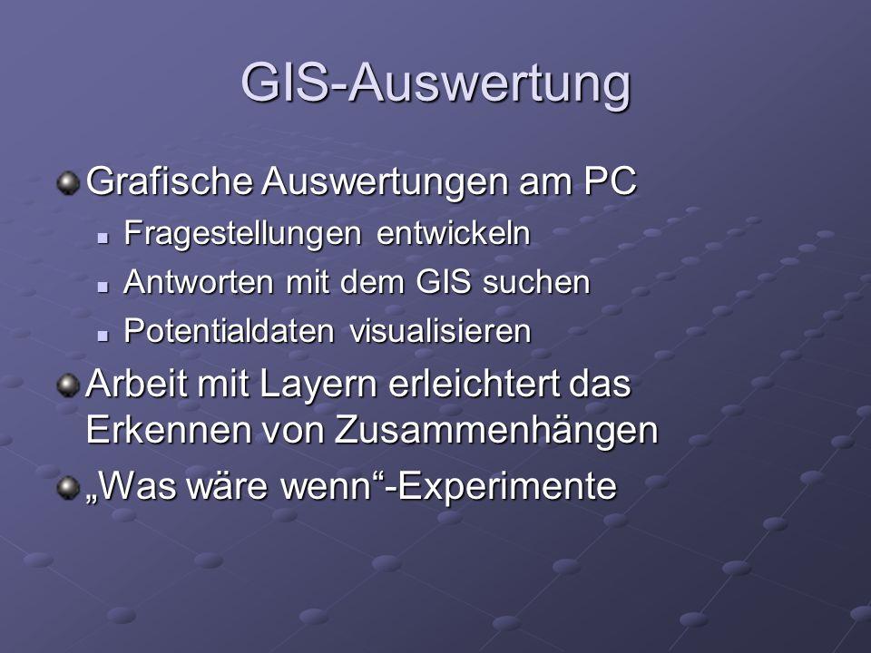 GIS-Auswertung Grafische Auswertungen am PC Fragestellungen entwickeln Fragestellungen entwickeln Antworten mit dem GIS suchen Antworten mit dem GIS s