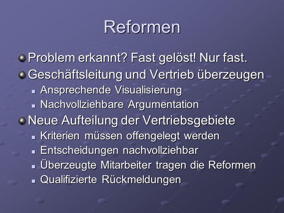 Reformen Problem erkannt? Fast gelöst! Nur fast. Geschäftsleitung und Vertrieb überzeugen Ansprechende Visualisierung Ansprechende Visualisierung Nach