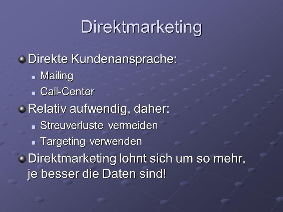 Direktmarketing Direkte Kundenansprache: Mailing Mailing Call-Center Call-Center Relativ aufwendig, daher: Streuverluste vermeiden Streuverluste verme