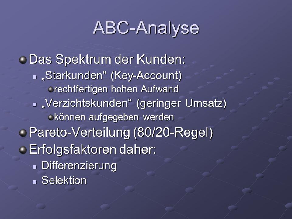 ABC-Analyse Das Spektrum der Kunden: Starkunden (Key-Account) Starkunden (Key-Account) rechtfertigen hohen Aufwand Verzichtskunden (geringer Umsatz) V