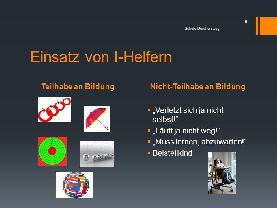 Teilhabe an BildungNicht-Teilhabe an Bildung Schule Borchersweg 9 Einsatz von I-Helfern Verletzt sich ja nicht selbst! Läuft ja nicht weg! Muss lernen