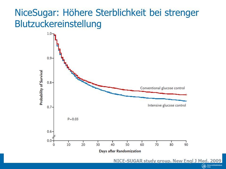 NiceSugar: Höhere Sterblichkeit bei strenger Blutzuckereinstellung NICE-SUGAR study group. New Engl J Med. 2009
