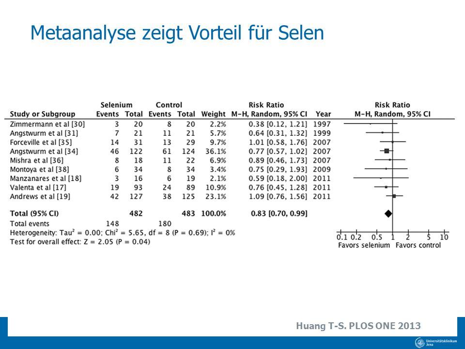 Metaanalyse zeigt Vorteil für Selen Huang T-S. PLOS ONE 2013