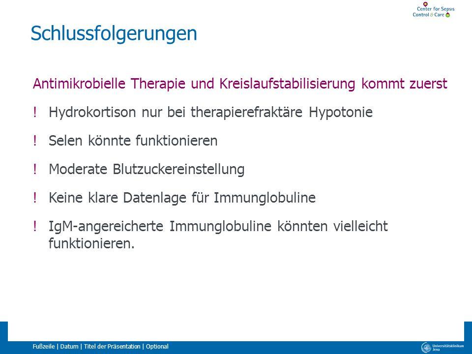 Fußzeile | Datum | Titel der Präsentation | Optional Schlussfolgerungen Antimikrobielle Therapie und Kreislaufstabilisierung kommt zuerst !Hydrokortis