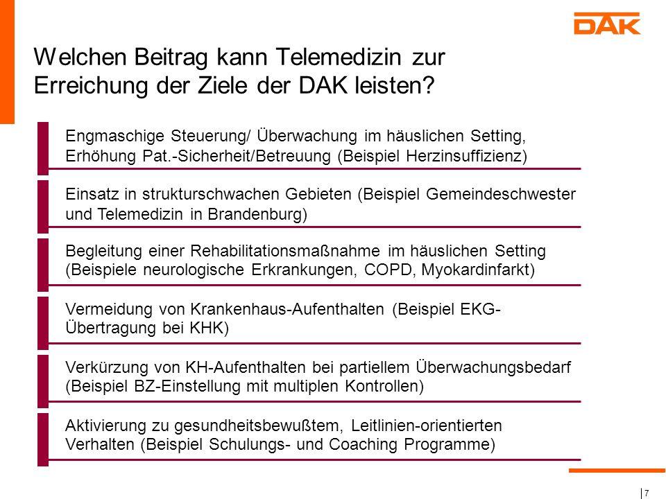 7 Welchen Beitrag kann Telemedizin zur Erreichung der Ziele der DAK leisten? Engmaschige Steuerung/ Überwachung im häuslichen Setting, Erhöhung Pat.-S