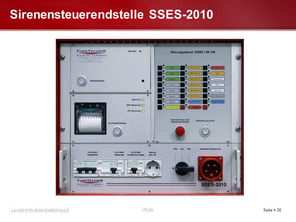 Seite 30 LANDESFEUERWEHRSCHULE VFUG Sirenensteuerendstelle SSES-2010