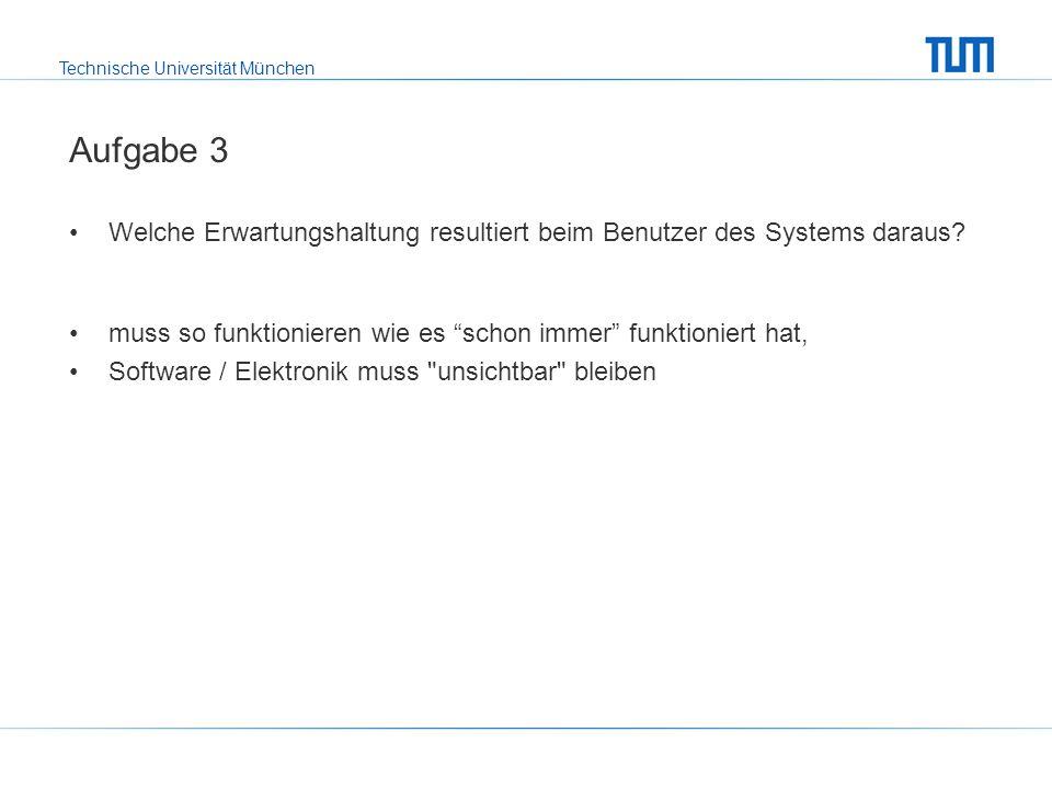 Technische Universität München Aufgabe 3 Welche Erwartungshaltung resultiert beim Benutzer des Systems daraus.
