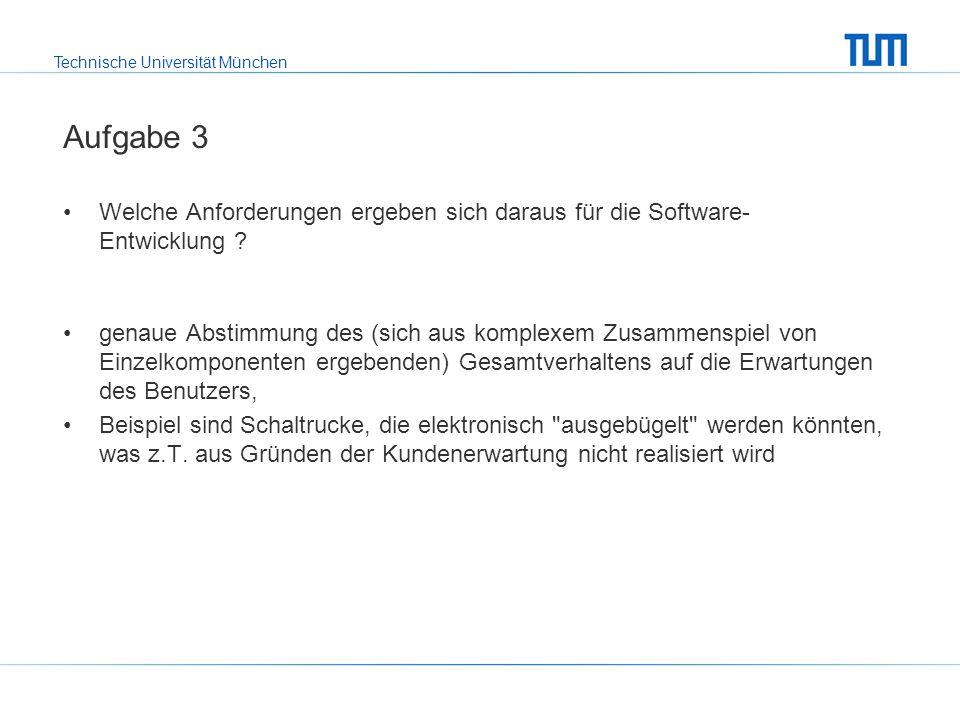 Technische Universität München Aufgabe 3 Welche Anforderungen ergeben sich daraus für die Software- Entwicklung .
