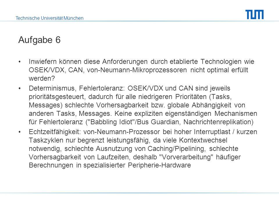 Technische Universität München Aufgabe 6 Inwiefern können diese Anforderungen durch etablierte Technologien wie OSEK/VDX, CAN, von-Neumann-Mikroprozessoren nicht optimal erfüllt werden.